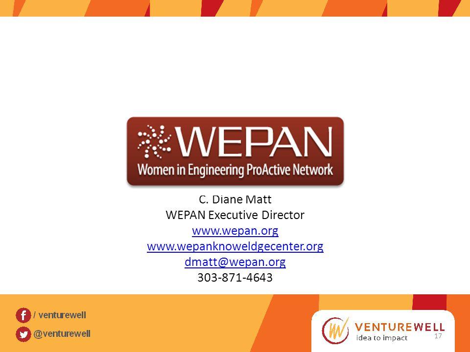 C. Diane Matt WEPAN Executive Director www.wepan.org www.wepanknoweldgecenter.org dmatt@wepan.org 303-871-4643 17