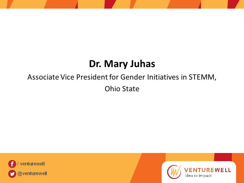 Dr. Mary Juhas Associate Vice President for Gender Initiatives in STEMM, Ohio State