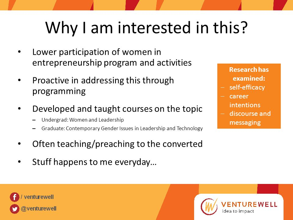 Why I am interested in this? Lower participation of women in entrepreneurship program and activities Proactive in addressing this through programming