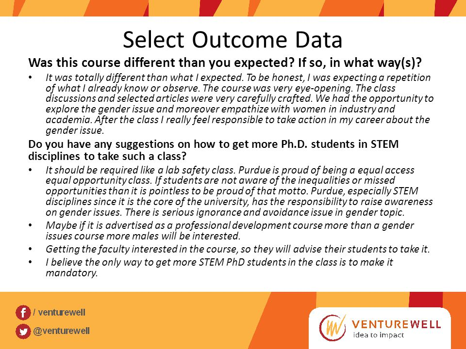 Select Outcome Data Was this course different than you expected? If so, in what way(s)? It was totally different than what I expected. To be honest, I