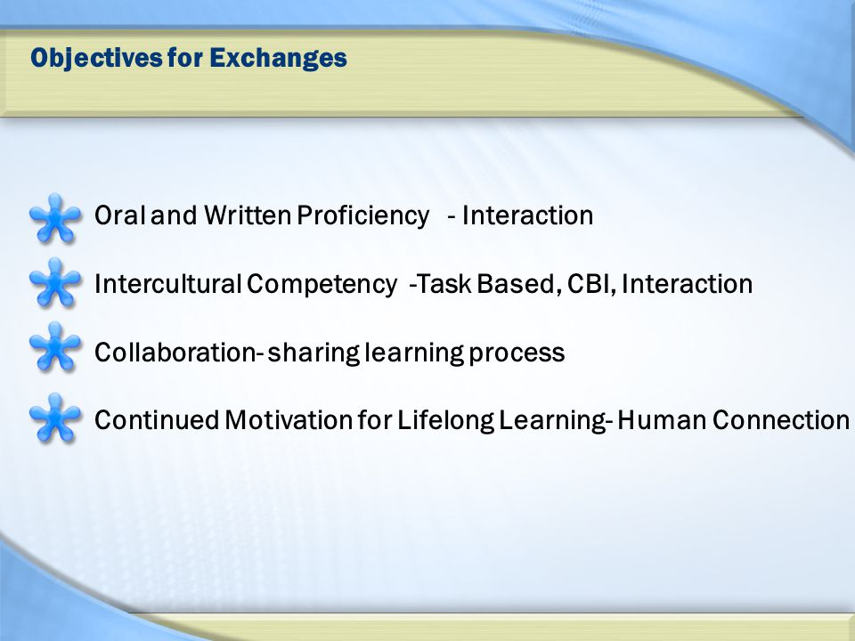 Objectives for Exchanges Oral and Written Proficiency - Interaction Intercultural Competency -Task Based, CBI, Interaction Collaboration- sharing learning process Continued Motivation for Lifelong Learning- Human Connection