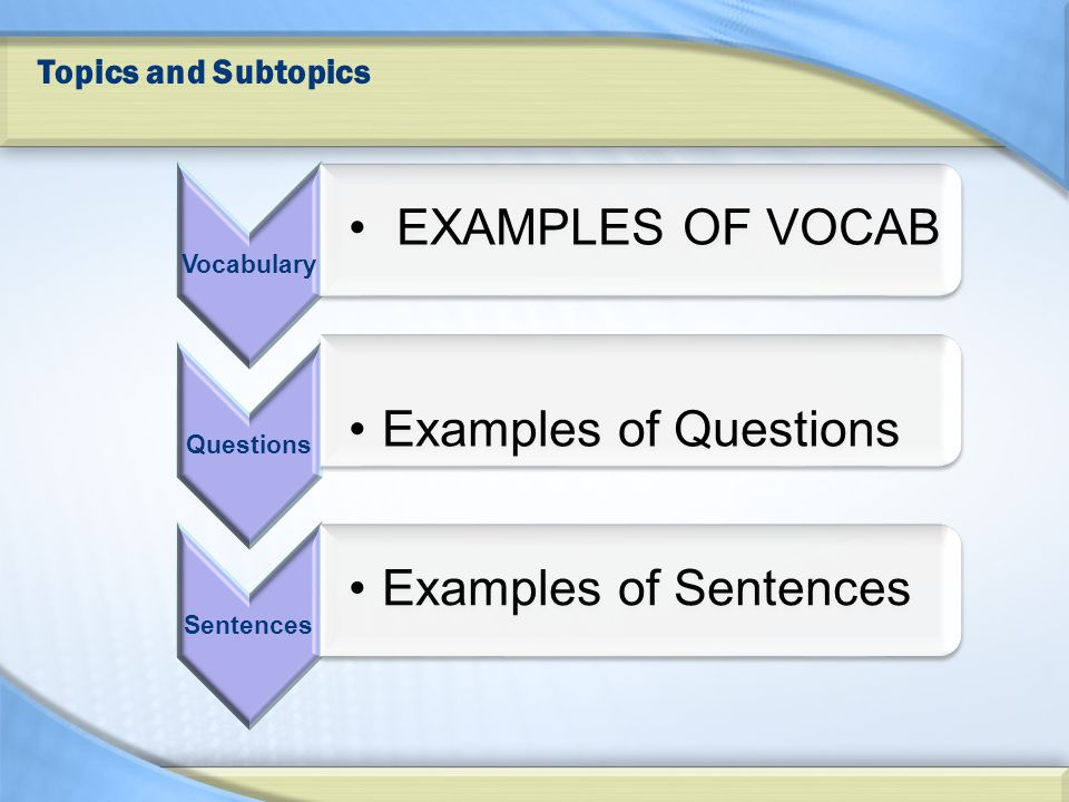Topics and Subtopics Vocabulary EXAMPLES OF VOCAB Questions Examples of Questions Sentences Examples of Sentences