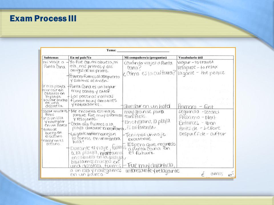 Exam Process III
