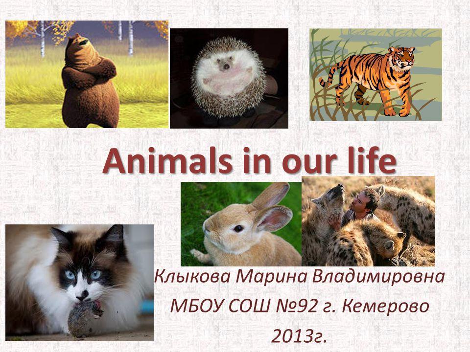 Animals in our life Клыкова Марина Владимировна МБОУ СОШ №92 г. Кемерово 2013г.