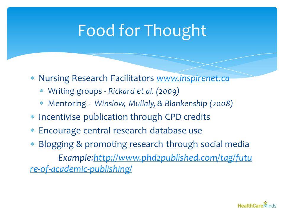  Nursing Research Facilitators www.inspirenet.cawww.inspirenet.ca  Writing groups - Rickard et al.