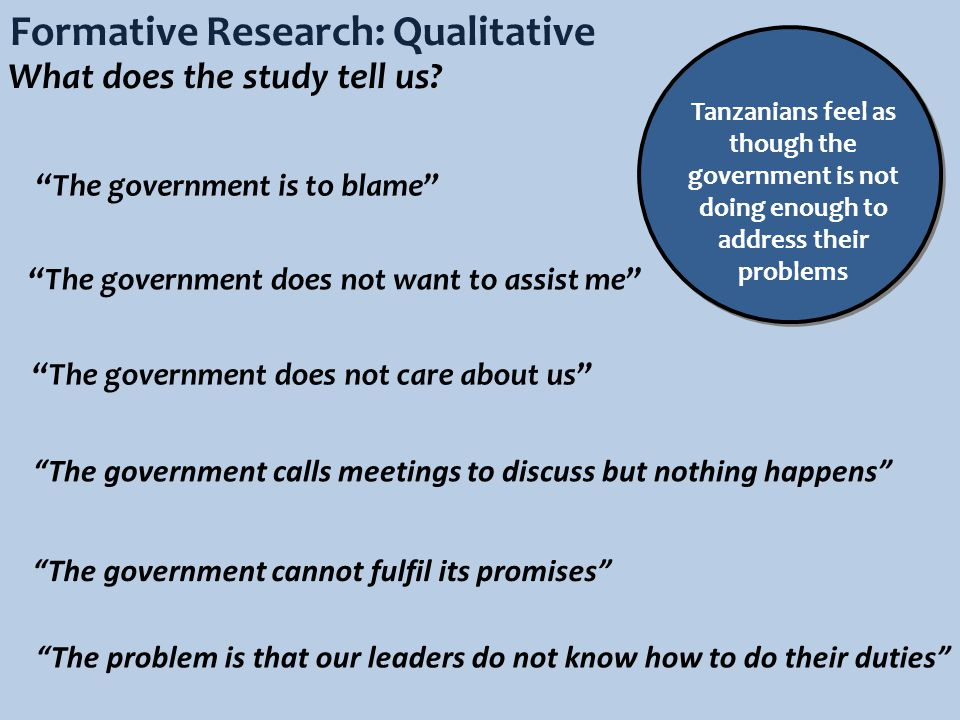 Formative Research: Qualitative What does the study tell us.