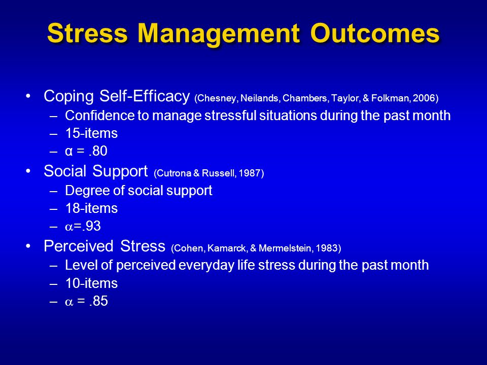 Stress Management Outcomes Coping Self-Efficacy (Chesney, Neilands, Chambers, Taylor, & Folkman, 2006) –Confidence to manage stressful situations during the past month –15-items –α =.80 Social Support (Cutrona & Russell, 1987) –Degree of social support –18-items –  =.93 Perceived Stress (Cohen, Kamarck, & Mermelstein, 1983) –Level of perceived everyday life stress during the past month –10-items –  =.85