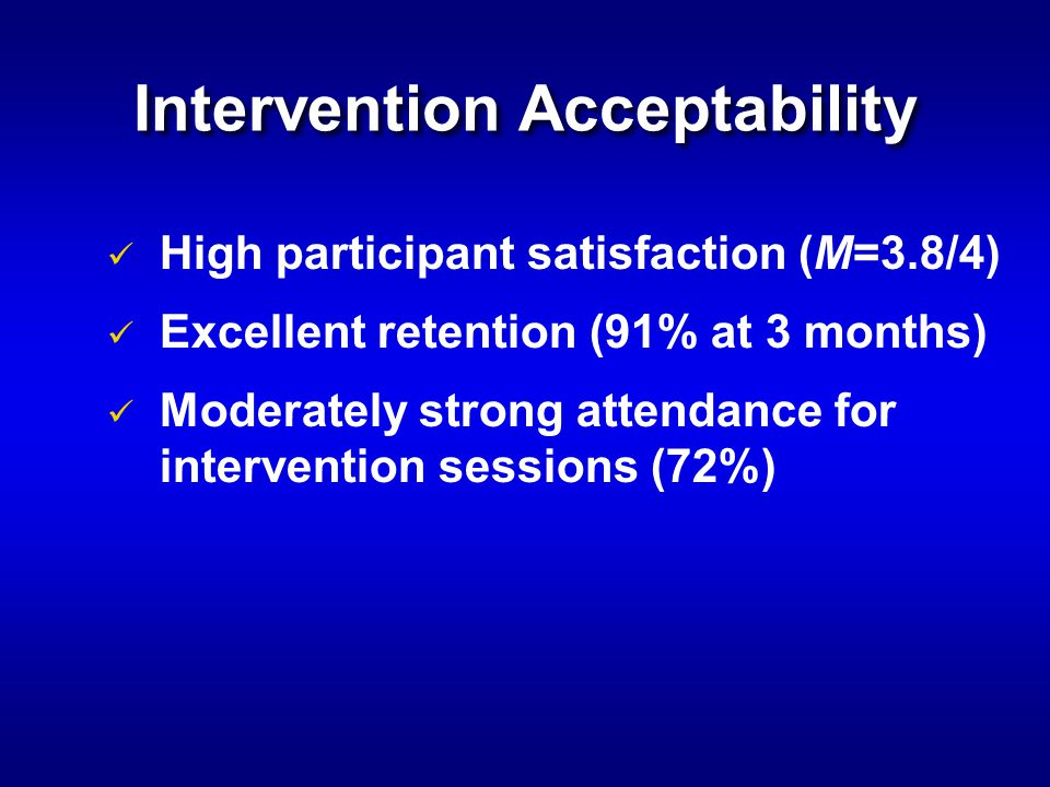 Intervention Acceptability High participant satisfaction (M=3.8/4) Excellent retention (91% at 3 months) Moderately strong attendance for intervention sessions (72%)