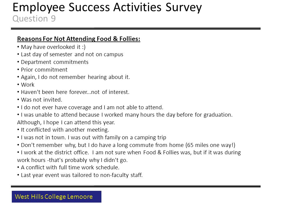 West Hills College Lemoore Employee Success Activities Survey Question 9 Reasons For Not Attending Food & Follies: May have overlooked it :) Last day of semester and not on campus Department commitments Prior commitment Again, I do not remember hearing about it.