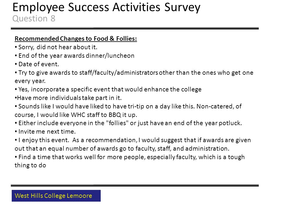 West Hills College Lemoore Employee Success Activities Survey Question 8 Recommended Changes to Food & Follies: Sorry, did not hear about it.