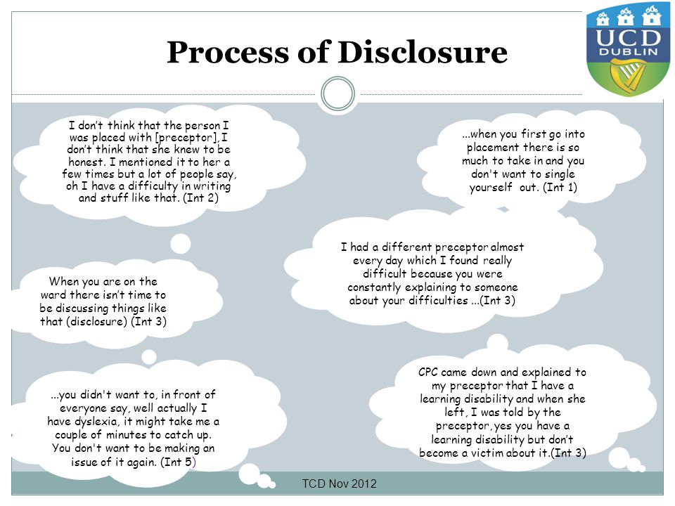 Process of Disclosure I don't think that the person I was placed with [preceptor], I don't think that she knew to be honest.