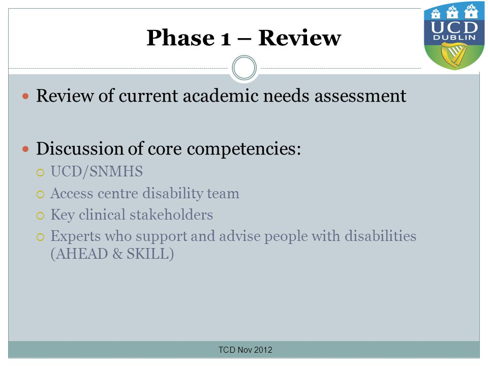 Phase 1 – Review Review of current academic needs assessment Discussion of core competencies:  UCD/SNMHS  Access centre disability team  Key clinical stakeholders  Experts who support and advise people with disabilities (AHEAD & SKILL) TCD Nov 2012