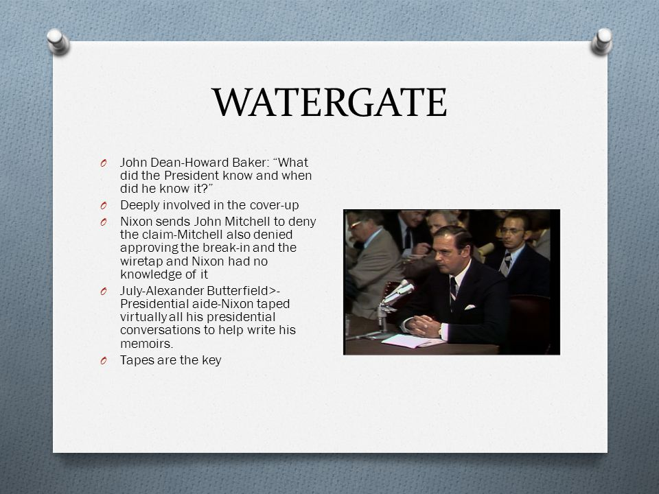 WATERGATE O Saturday Night Massacre O Year-long battle for the tapes O Archibald Cox>-Special Prosecutor, took President to court to get the tapes O Cox appointed by Elliott Richardson-who Nixon appointed to Attorney General after Mitchell O Nixon refused to give up the tapes and ordered Richardson to fire Cox O Richardson refused the order and resigned O Deputy Attorney General refused and was fired O Solicitor General Robert Bork finally fired Cox- replace with Leon Jaworski O Jaworski demands the tapes O The House begins impeachment proceedings O Days before-Spiro Agnew resigned after it was revealed that he accepted bribes in Maryland before and during his term as VP O Nixon nominated Gerald Ford as Agnew's replacement O Agnew's scandal makes investigators look at Nixon's finances and they found that Nixon paid $1000 on a $200,000 salary.