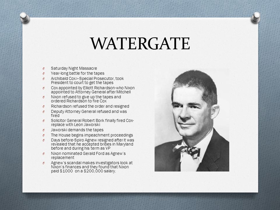 WATERGATE O People have the right to know whether or not their President is a crook.