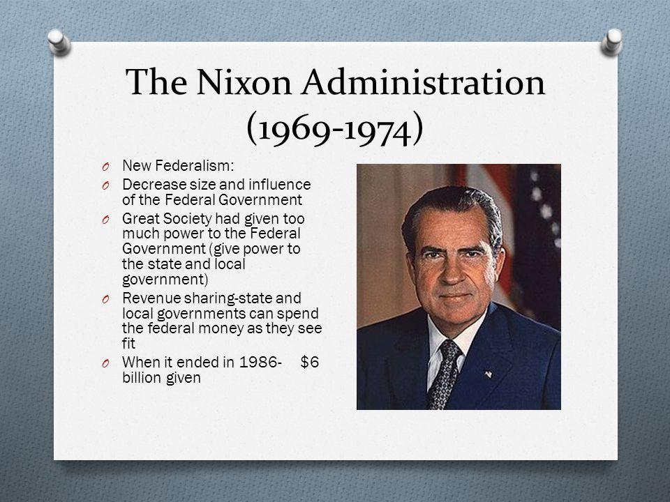 New Federalism O Welfare Reform: Nixon didn't oppose welfare- O Family Assistance Act: every family of four with no outside income would receive $1600/year O Can earn up to $4000/ year with incentives O Take job training and accept any reasonable work available O Bill fails in the Senate- Liberals- too low minimum payment O Conservatives objected to guaranteed money