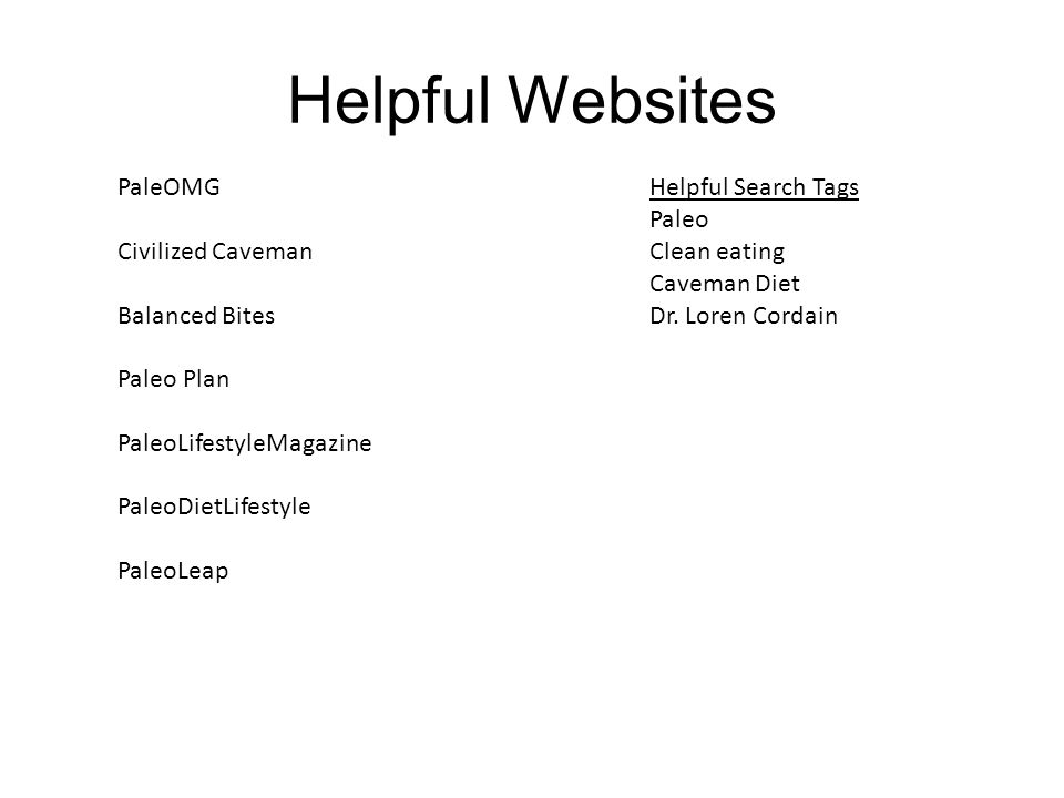 Helpful Websites PaleOMGHelpful Search Tags Paleo Civilized Caveman Clean eating Caveman Diet Balanced Bites Dr.
