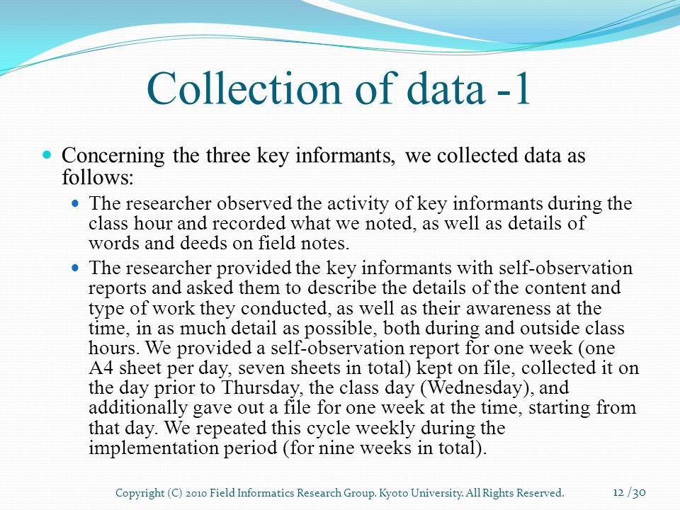 Collection of data -1 Concerning the three key informants, we collected data as follows: The researcher observed the activity of key informants during the class hour and recorded what we noted, as well as details of words and deeds on field notes.