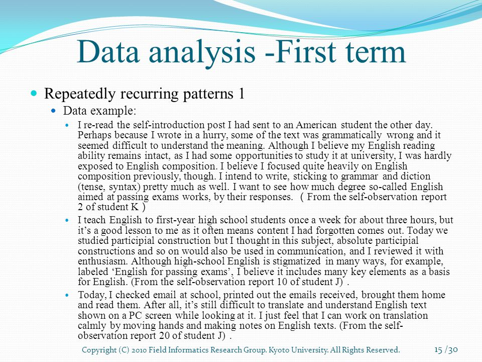 Data analysis -First term Repeatedly recurring patterns 1 Data example: I re-read the self-introduction post I had sent to an American student the other day.