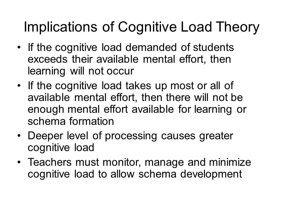 Implications of Cognitive Load Theory If the cognitive load demanded of students exceeds their available mental effort, then learning will not occur I