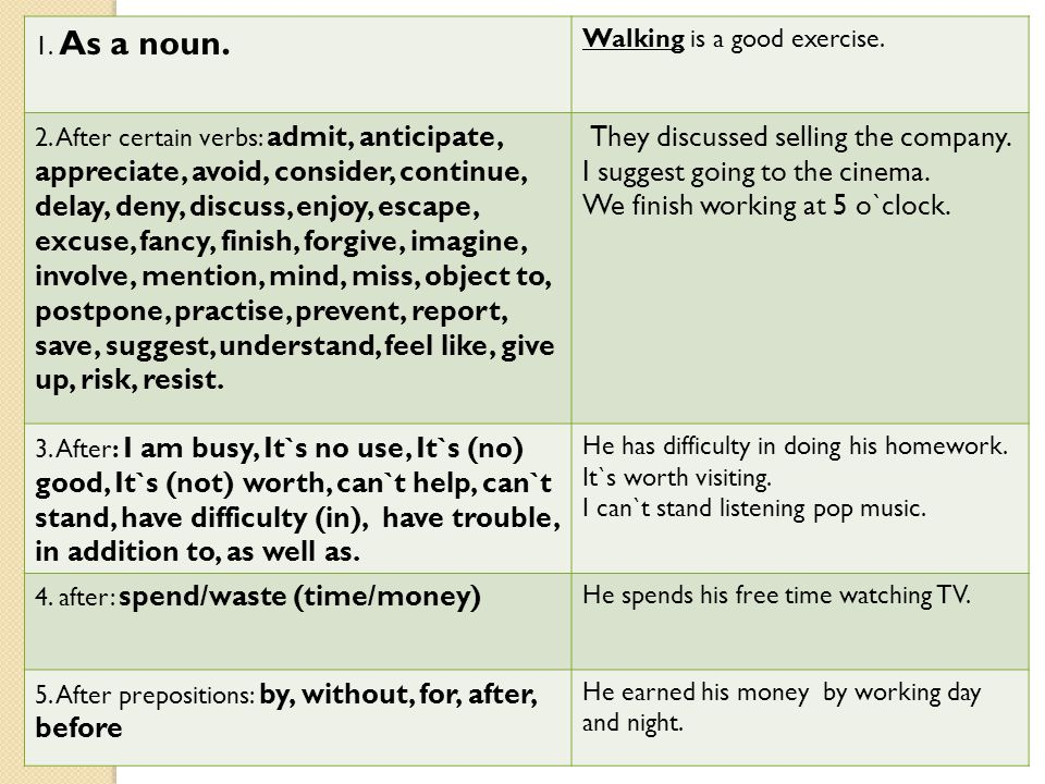 1. As a noun. Walking is a good exercise. 2. After certain verbs: admit, anticipate, appreciate, avoid, consider, continue, delay, deny, discuss, enjo