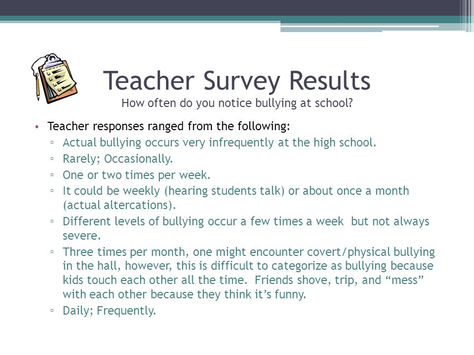 Teacher Survey Results How often do you notice bullying at school? Teacher responses ranged from the following: ▫ Actual bullying occurs very infreque