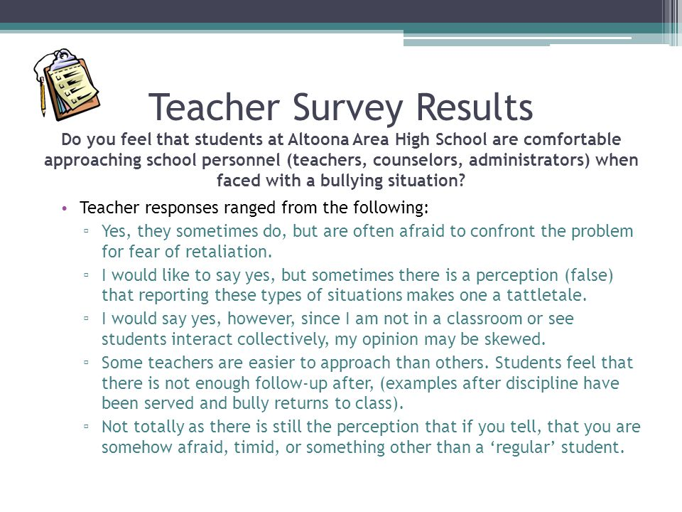 Teacher Survey Results Do you feel that students at Altoona Area High School are comfortable approaching school personnel (teachers, counselors, admin