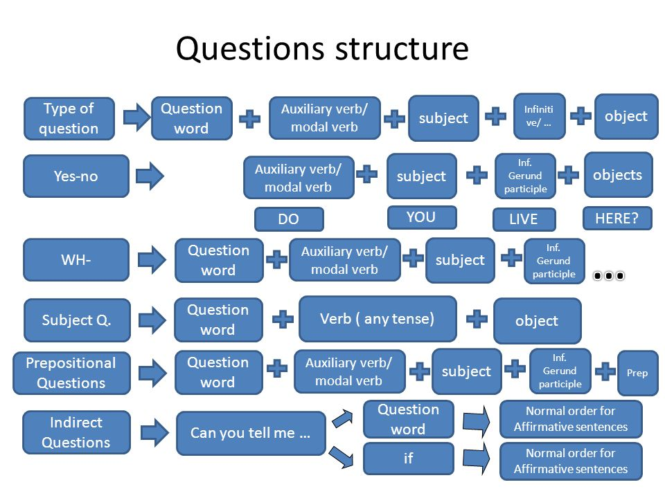 Types of questions Yes- No questions Wh- (or Information) Questions Subject/Object Questions Indirect Questions Prepositional Questions Question Tags 2, 8, 1,3,4,5,6,7 ---- 9,10,12 ---- What type of question do the senteces in the previous slide belong to?