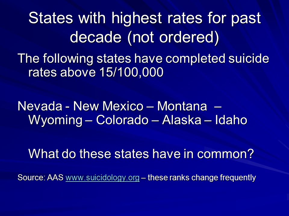 States with highest rates for past decade (not ordered) The following states have completed suicide rates above 15/100,000 Nevada - New Mexico – Monta