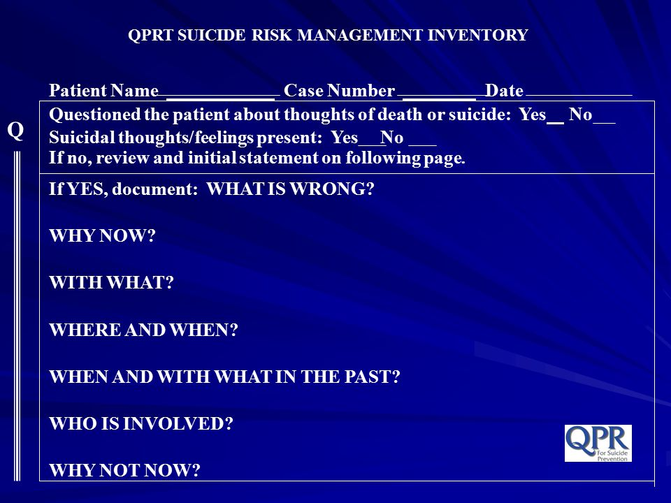 QPRT SUICIDE RISK MANAGEMENT INVENTORY Patient Name Case Number Date Questioned the patient about thoughts of death or suicide: Yes No Suicidal though