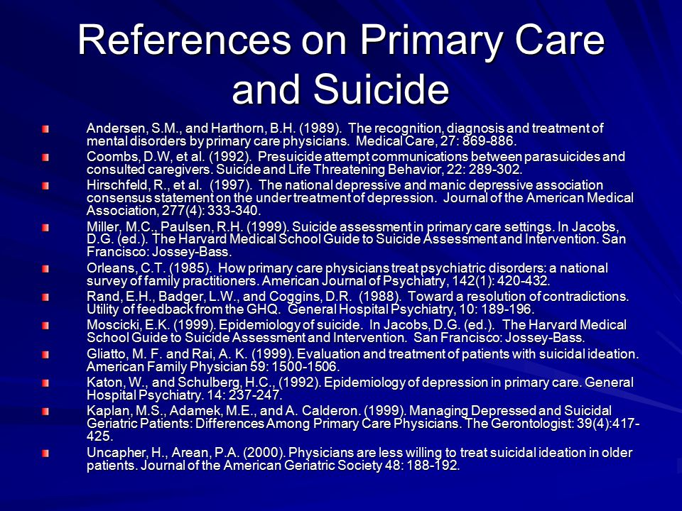 References on Primary Care and Suicide Andersen, S.M., and Harthorn, B.H. (1989). The recognition, diagnosis and treatment of mental disorders by prim