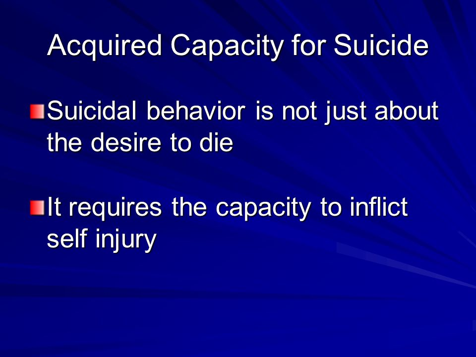 Acquired Capacity for Suicide Suicidal behavior is not just about the desire to die It requires the capacity to inflict self injury