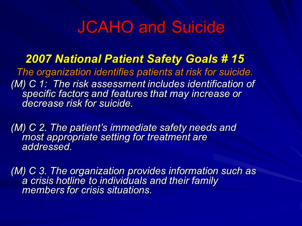 Depression/suicide screening in the Henry Ford Health Systems Zero is perfect number of patient suicides Perfect Depression Care initiative Relies on a shift in thinking, rather than on costly resources or a surge in clinical staff Relies on a shift in thinking, rather than on costly resources or a surge in clinical staff Six steps: set goal, engage patients, improve quality, monitor, report, etc.