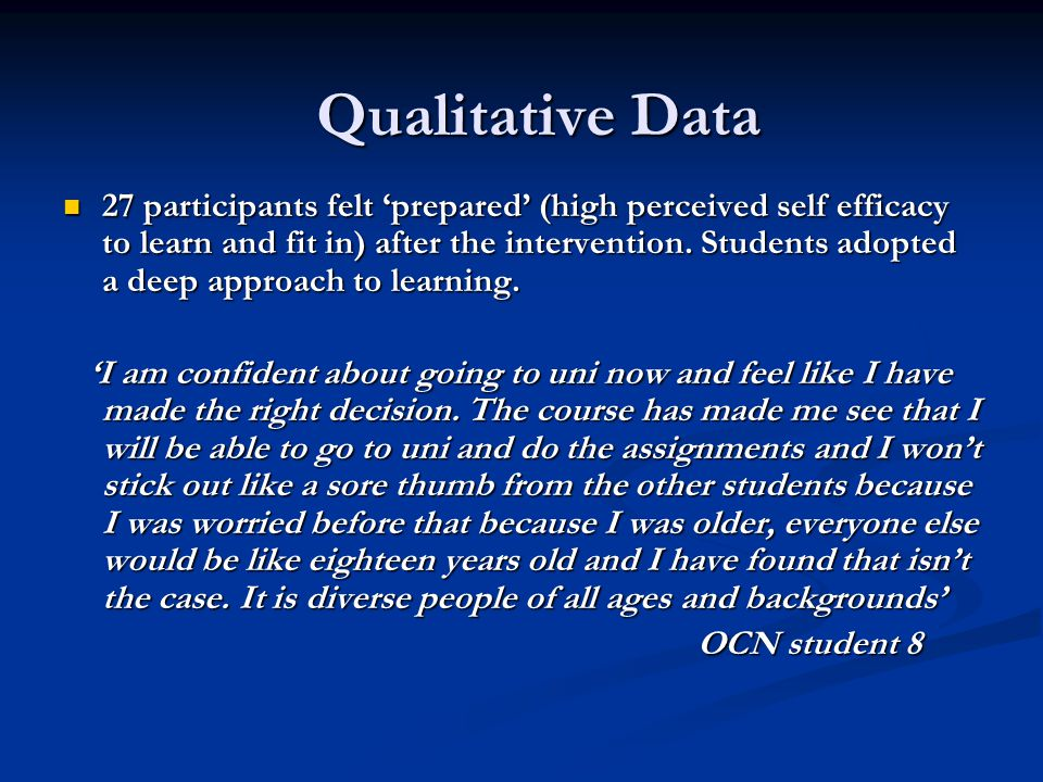 Qualitative Data 27 participants felt 'prepared' (high perceived self efficacy to learn and fit in) after the intervention.