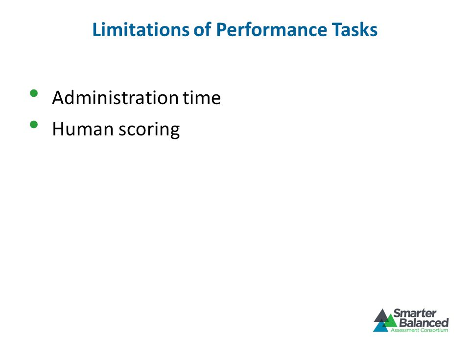 Limitations of Performance Tasks Administration time Human scoring