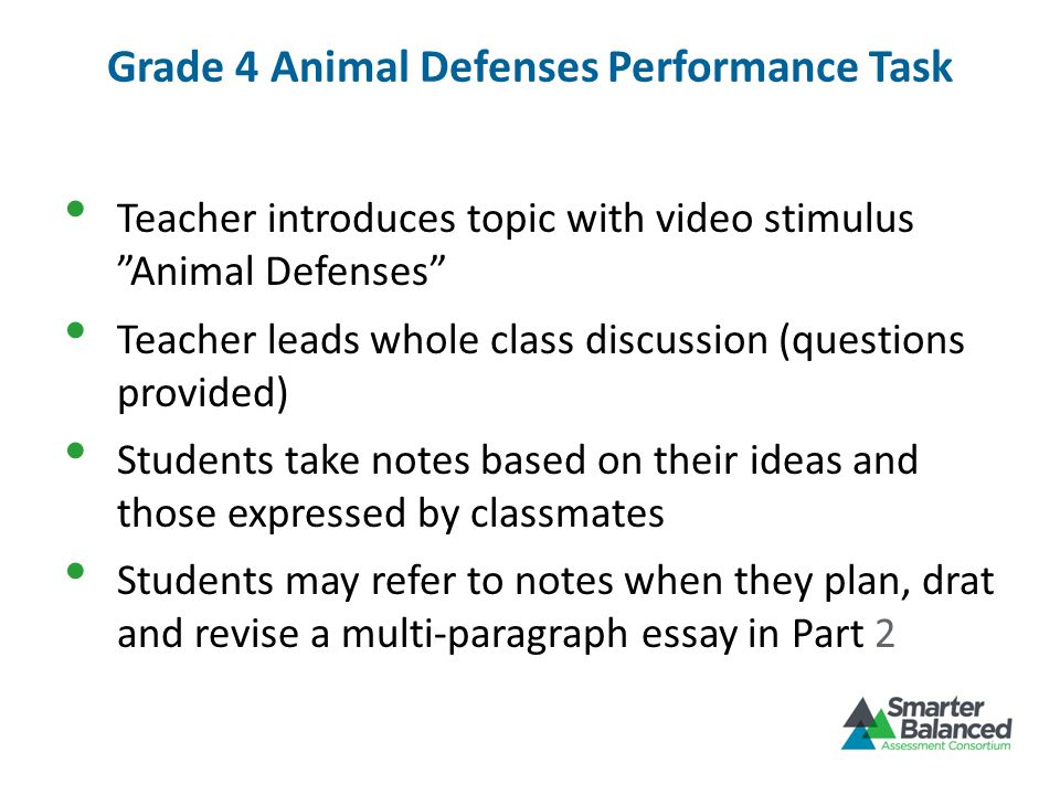 Grade 4 Animal Defenses Performance Task Teacher introduces topic with video stimulus Animal Defenses Teacher leads whole class discussion (questions provided) Students take notes based on their ideas and those expressed by classmates Students may refer to notes when they plan, drat and revise a multi-paragraph essay in Part 2