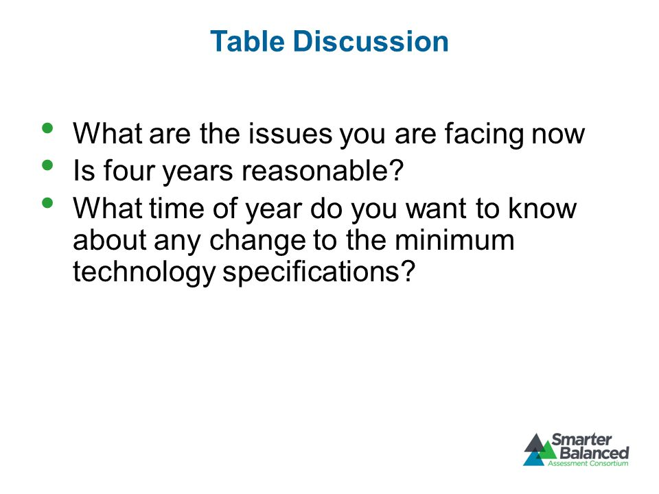 Table Discussion What are the issues you are facing now Is four years reasonable.