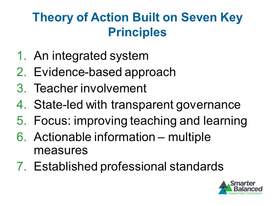 Theory of Action Built on Seven Key Principles 1.An integrated system 2.Evidence-based approach 3.Teacher involvement 4.State-led with transparent governance 5.Focus: improving teaching and learning 6.Actionable information – multiple measures 7.Established professional standards