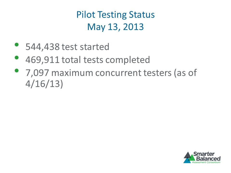 Pilot Testing Status May 13, 2013 544,438 test started 469,911 total tests completed 7,097 maximum concurrent testers (as of 4/16/13)
