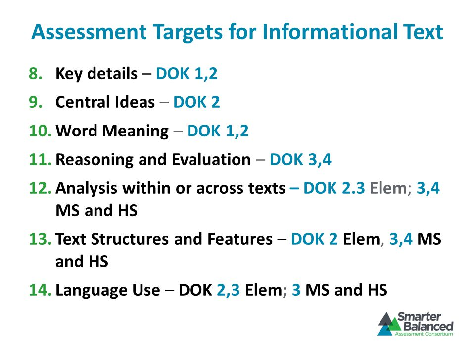 Assessment Targets for Informational Text 8.Key details – DOK 1,2 9.Central Ideas – DOK 2 10.Word Meaning – DOK 1,2 11.Reasoning and Evaluation – DOK 3,4 12.Analysis within or across texts – DOK 2.3 Elem; 3,4 MS and HS 13.Text Structures and Features – DOK 2 Elem, 3,4 MS and HS 14.Language Use – DOK 2,3 Elem; 3 MS and HS