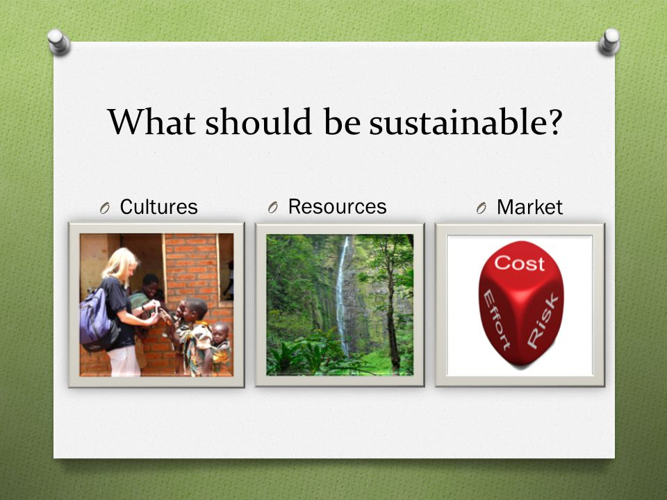 What should be sustainable O Cultures O Resources O Market