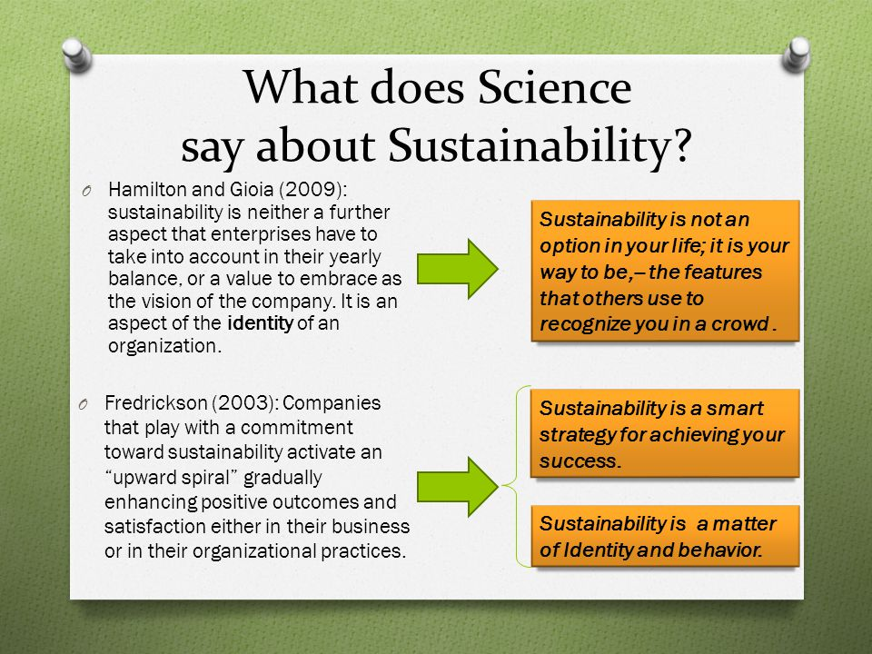 What does Science say about Sustainability.