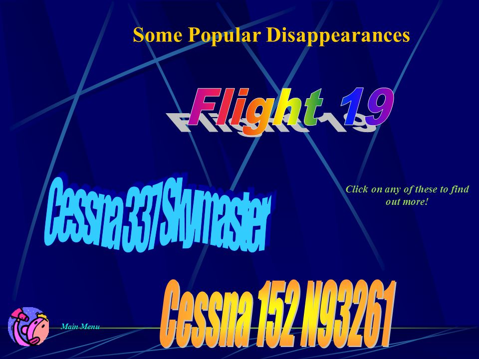 Some Popular Disappearances Main Menu Main Menu Click on any of these to find out more!
