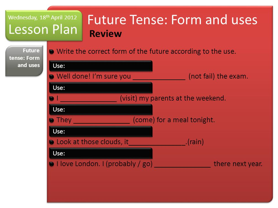 Lesson Plan Wednesday, 18 th April 2012 Asking for and giving opinions I think… Future tense: Form and uses Asking for and giving opinions NameContribution Samuel/EugenioAs far as I'm concerned… SarayI think that… María /RosarioTo be honest, I believe that… Daniel BonhomoI would like to say that… AdelaidaTo my mind… Jose / MiriamI must say that… Daniel de los R.From my point of view… LorenaI would like to support (somebody) in what he says Miriam / AnabelI strongly believe that… JerónimoAs much as I do agree with you about.., I still feel..