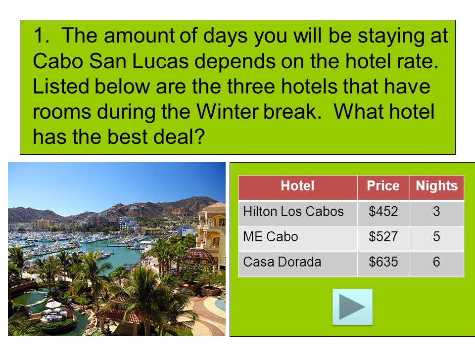 HotelPriceNights Hilton Los Cabos$4523 ME Cabo$5275 Casa Dorada$6356 1. The amount of days you will be staying at Cabo San Lucas depends on the hotel