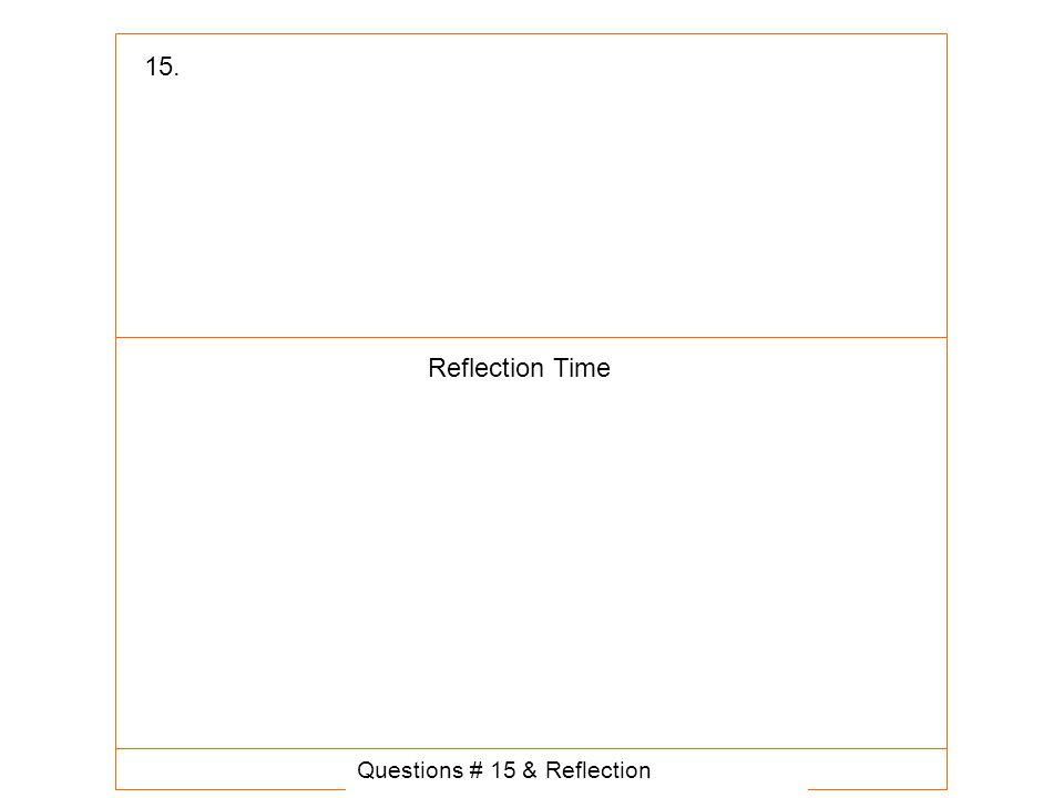 Questions # 15 & Reflection 15. Reflection Time