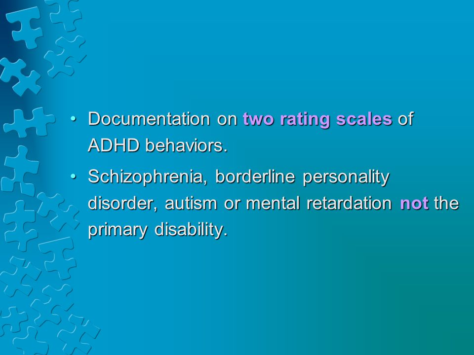 Documentation on two rating scales of ADHD behaviors.Documentation on two rating scales of ADHD behaviors.