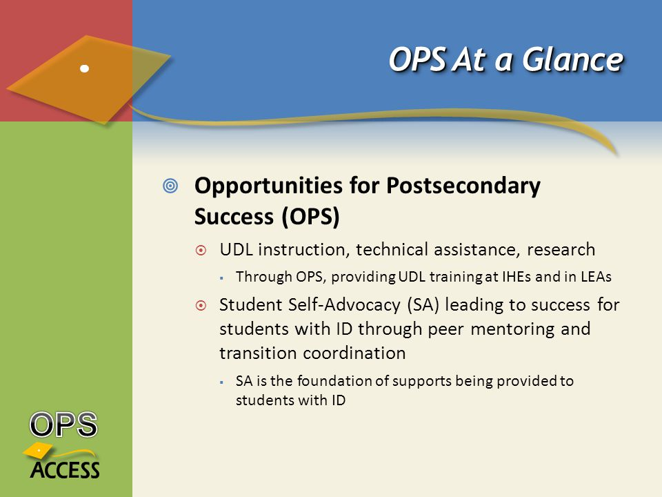 OPS At a Glance  Opportunities for Postsecondary Success (OPS)  UDL instruction, technical assistance, research  Through OPS, providing UDL training at IHEs and in LEAs  Student Self-Advocacy (SA) leading to success for students with ID through peer mentoring and transition coordination  SA is the foundation of supports being provided to students with ID