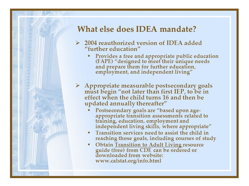 "What else does IDEA mandate?  2004 reauthorized version of IDEA added ""further education""  Provides a free and appropriate public education (FAPE) """