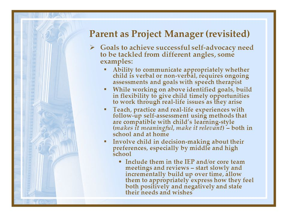Parent as Project Manager (revisited)  Goals to achieve successful self-advocacy need to be tackled from different angles, some examples:  Ability t