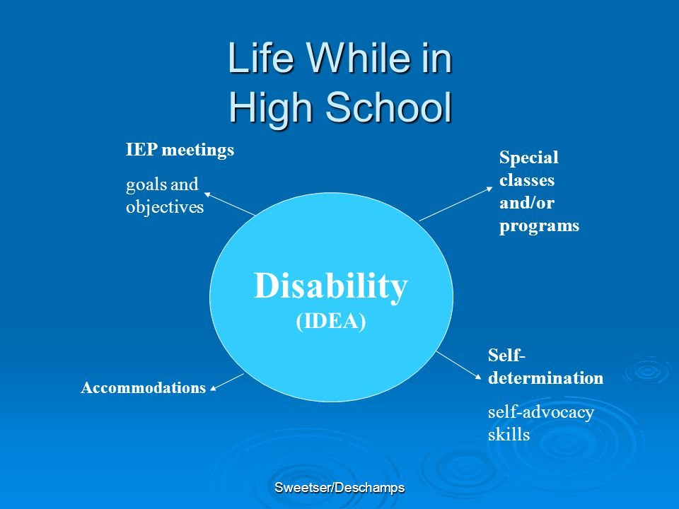 Sweetser/Deschamps Disability (IDEA) IEP meetings goals and objectives Special classes and/or programs Self- determination self-advocacy skills Accomm